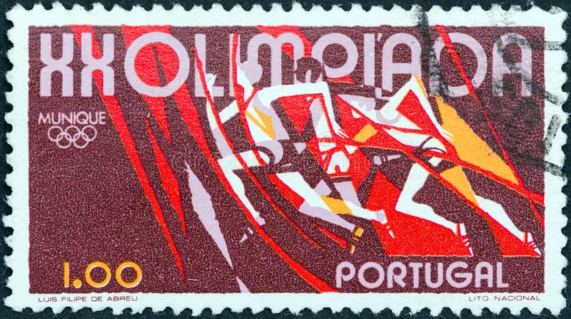 PORTUGAL - CIRCA 1972: A stamp printed in Portugal from the `Olympic Games, Munich` issue shows Running, circa 1972. PORTUGAL - CIRCA 1972: A stamp printed in stock image