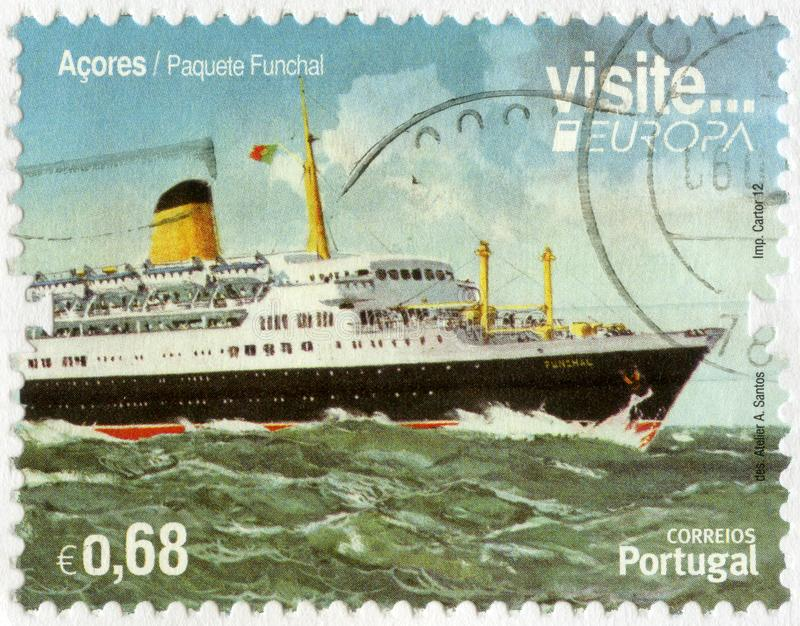 PORTUGAL - 2012: shows Funchal is a Portuguese passenger and cruise liner, Europe 2012, Visit Azores. PORTUGAL - CIRCA 2012: A stamp printed in Portugal shows royalty free stock photo
