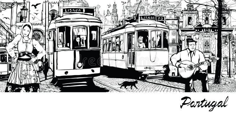 Portugal - composição na cidade de Lisboa ilustração stock