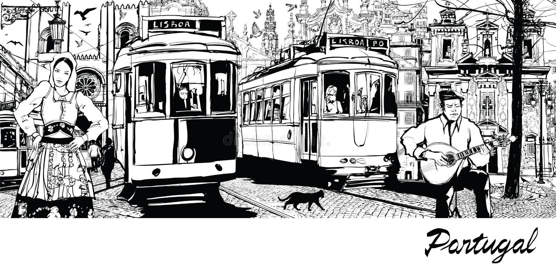 Portugal - composition on city of Lisbon stock illustration