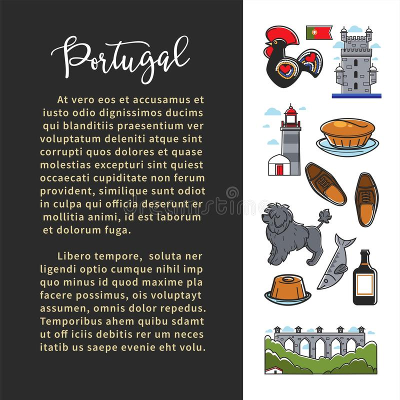 Portugal culture banner template with famous landmarks and text. Portugal culture, tourism banner, poster, flyer vertical template with famous landmarks vector illustration