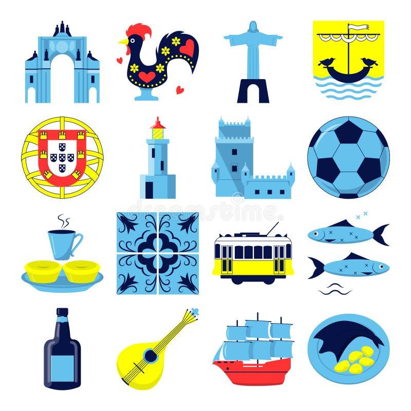 Portugal culture icons set in flat style. Portugal icons set in flat style. Traditional symbols including guitar fado, portuguese emblem, Christo rei, cockerel vector illustration