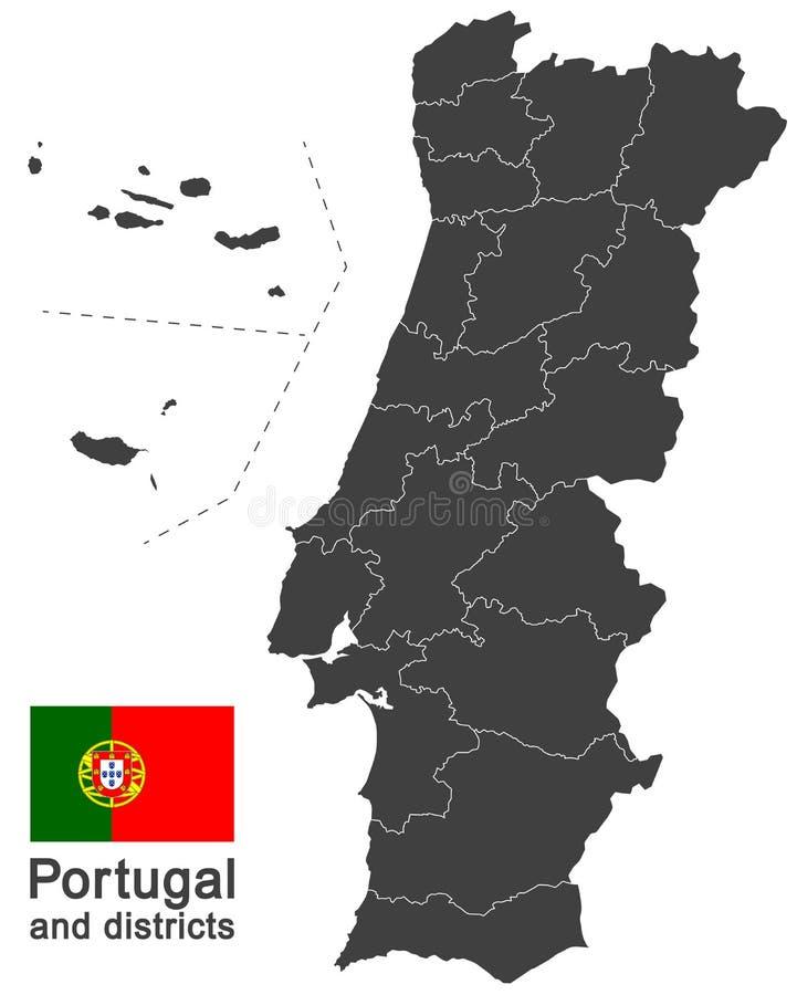 Portugal e distritos ilustração royalty free