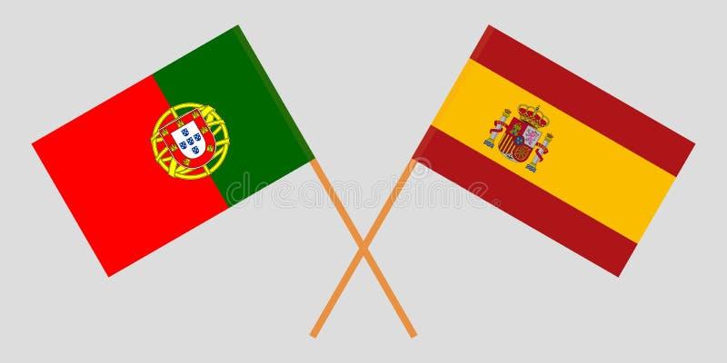 Portugal e Espanha As bandeiras portuguesas e espanholas Cores oficiais Propor??o correta Vetor ilustração royalty free