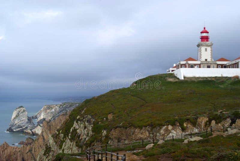 portugal för caboda-fyr roca royaltyfri foto