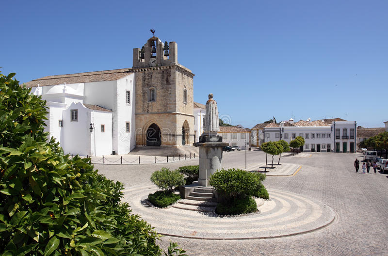 Portugal, Faro old town Se Cathedral. Portugal, Algarve, Faro old town - se cathedral square stock photo