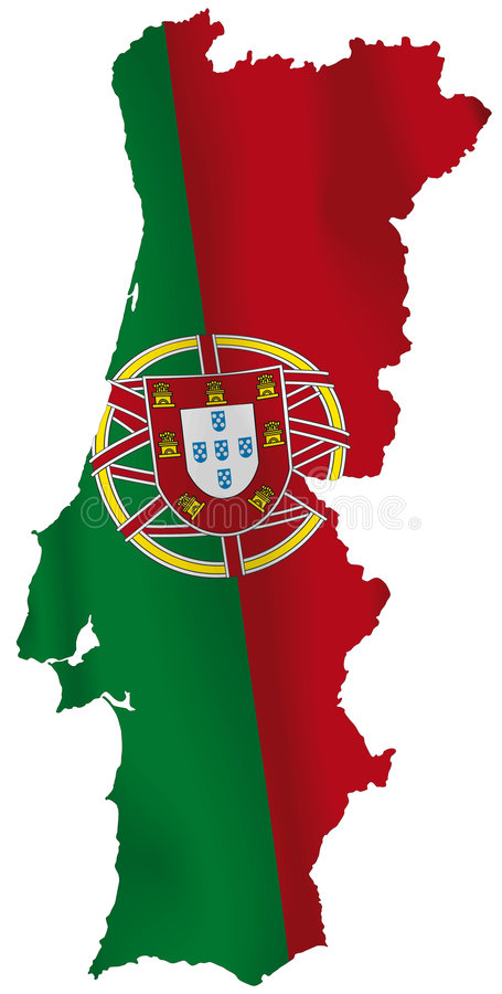 Portugal flag. Vector illustration of a map and flag from Portugal