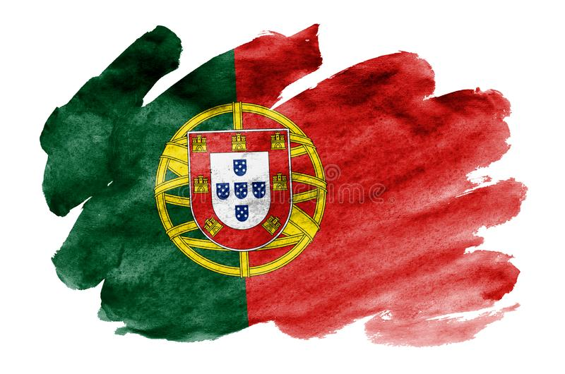 Portugal flag is depicted in liquid watercolor style isolated on white background stock illustration