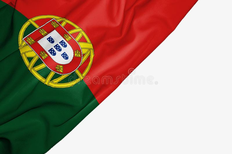 Portugal flag of fabric with copyspace for your text on white background. Banner best capital colorful competition country ensign europe free freedom glory vector illustration