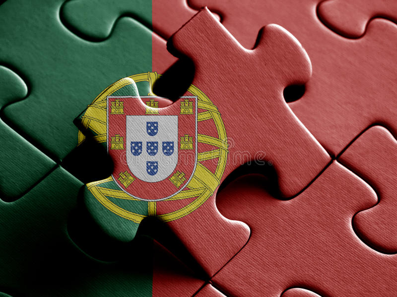 Portugal FLAG PAINTED ON PUZZLE nice royalty free illustration