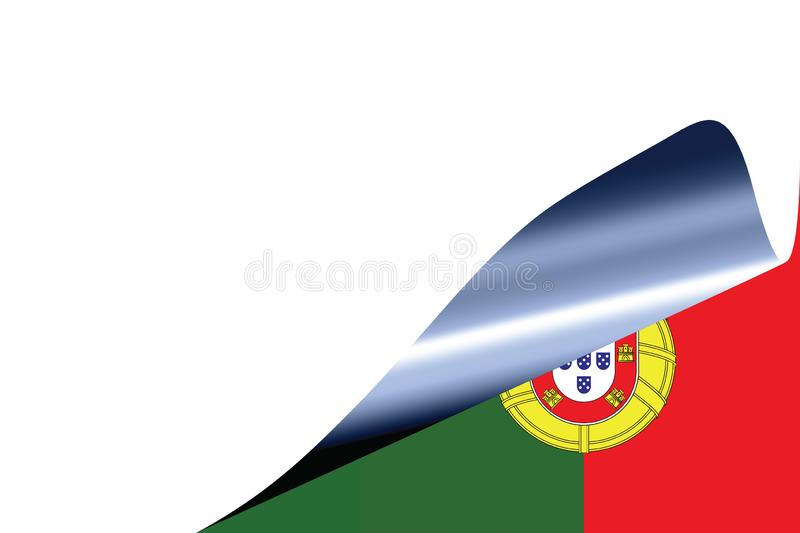 Portugal flag on white. With curled page vector illustration