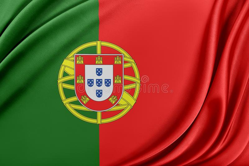 Portugal flagga med en glansig siden- textur vektor illustrationer