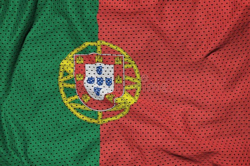 Portugal flagga som skrivs ut på en fabri för ingrepp för polyesternylonsportswear arkivfoton