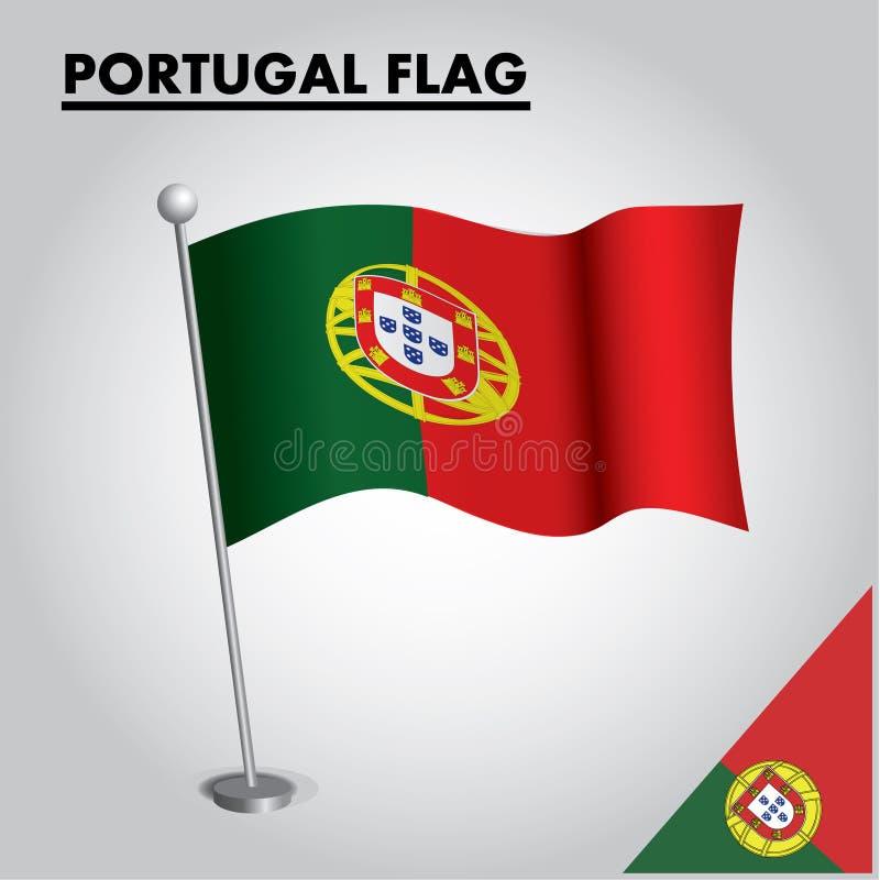 PORTUGAL-Flagge Staatsflagge von PORTUGAL auf einem Pfosten stock abbildung