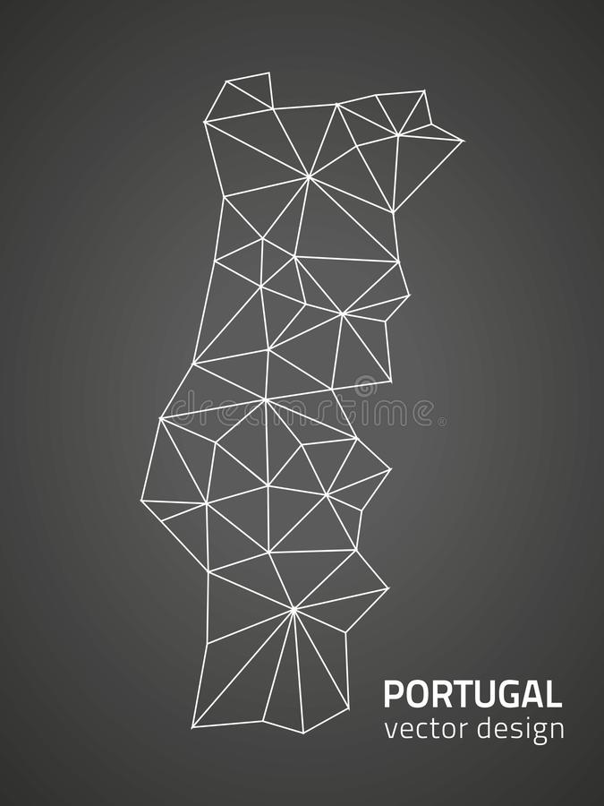 Portugal black triangle perspective outline vector polygonal map vector illustration