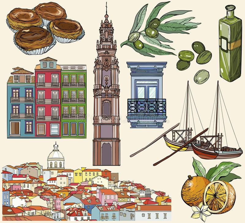Portugal icon set. Lisbon and Porto drawings. Vector illustration stock illustration