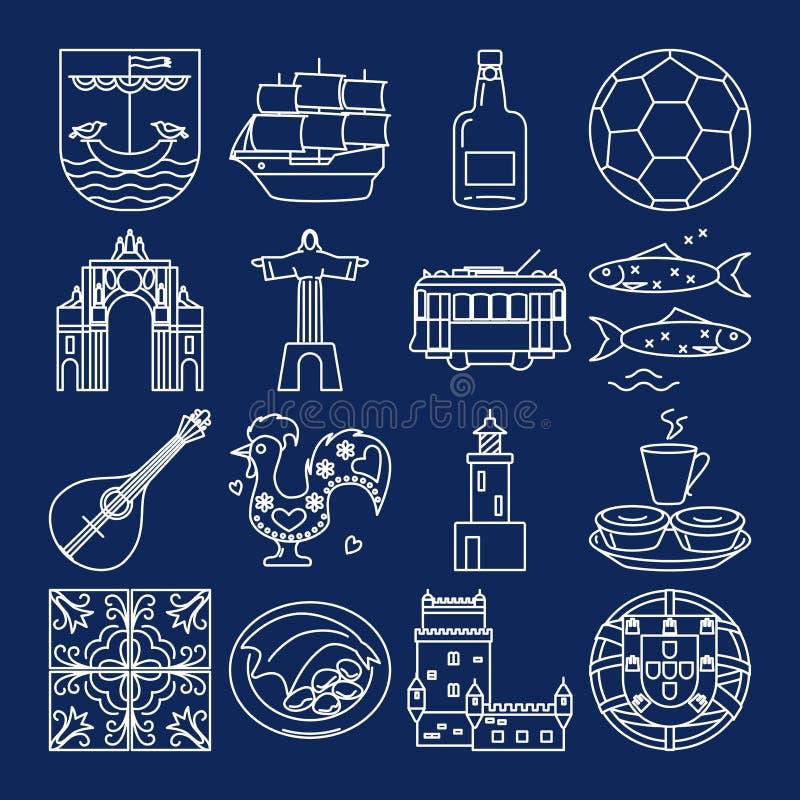 Portugal icons set in thin line style. Traditional symbols including guitar fado, portuguese emblem, Christ statue, cockerel, porto wine. Vector editable royalty free illustration