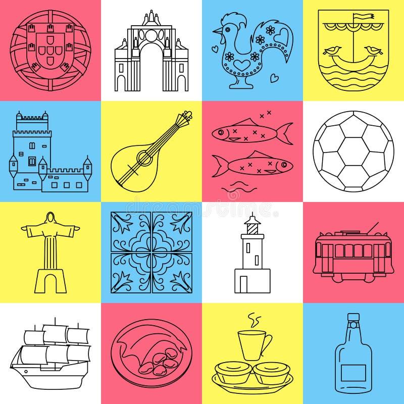 Portugal icons set in thin line style. Traditional symbols including guitar fado, portuguese emblem, Christo rei, cockerel, porto wine. Vector editable stroke stock illustration