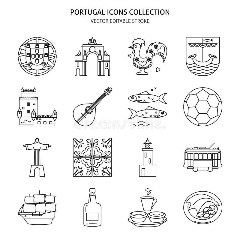 Portugal icons set in thin line style. Traditional symbols including guitar fado, portuguese emblem, Christo rei, cockerel, porto wine. Vector editable stroke royalty free illustration