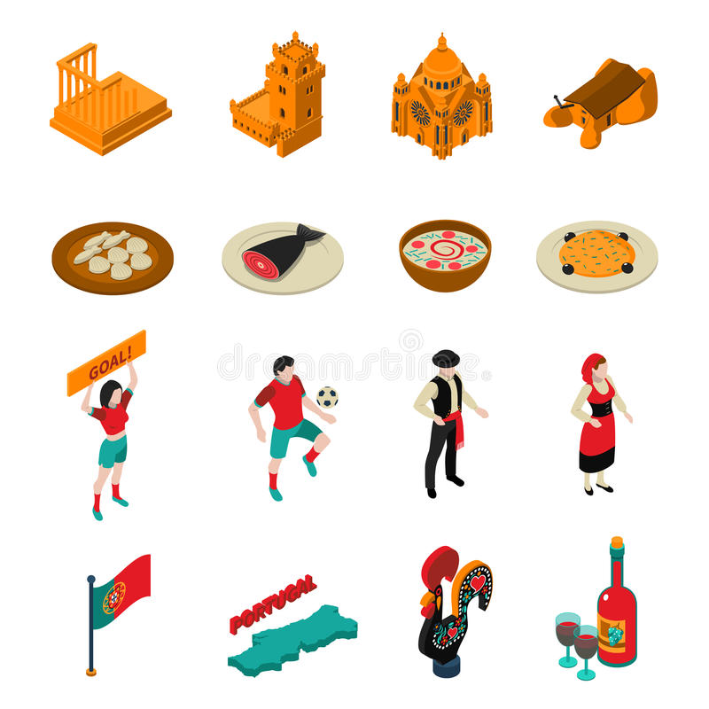 Portugal Icons Set stock illustration