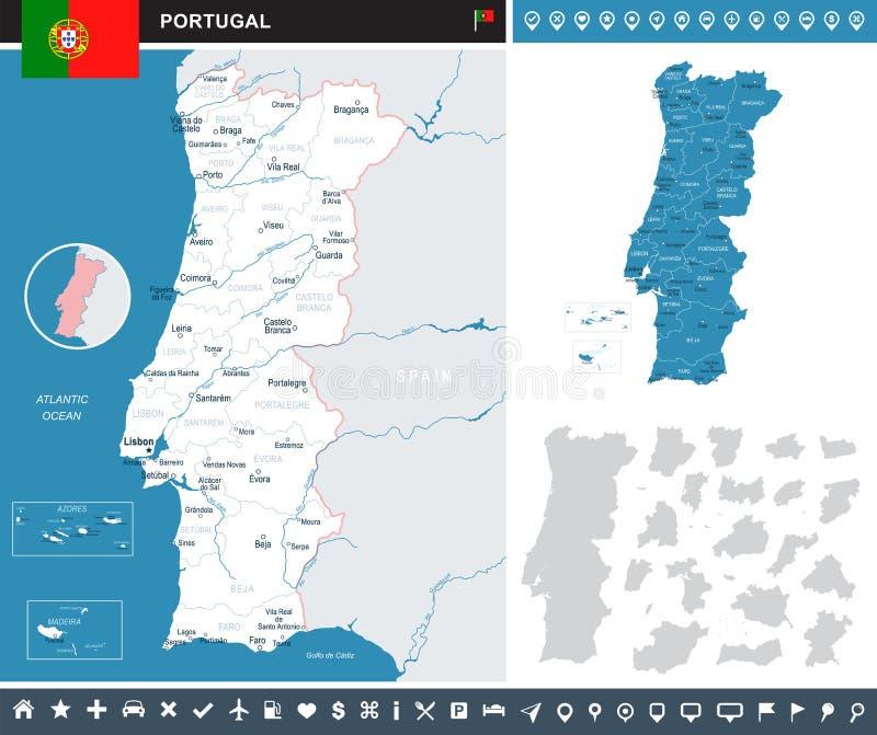 Portugal - infographic map and flag illustration. Portugal infographic map and flag - illustration vector illustration