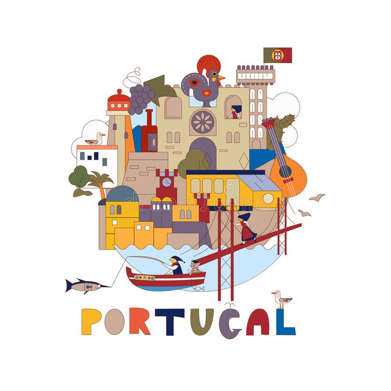 portugal Kaart van aantrekkelijkheden van Lissabon Historisch en cultureel Toerisme, reis vector illustratie