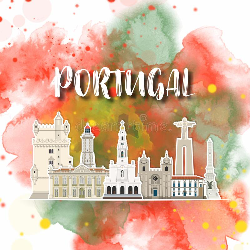 Portugal Landmark Global Travel And Journey watercolor background. Vector Design Template.used for your advertisement, book, stock illustration