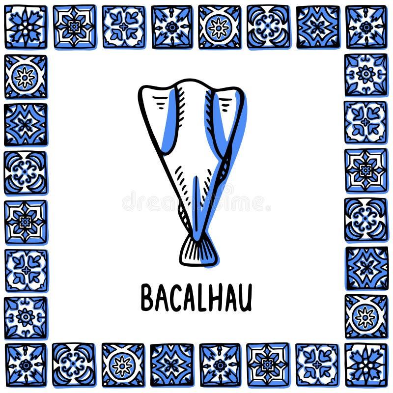 Portugal landmarks set. Bacalhau, traditional salted cod. Cos fish in frame of Portuguese tiles, azulejo. Handdrawn vector illustration