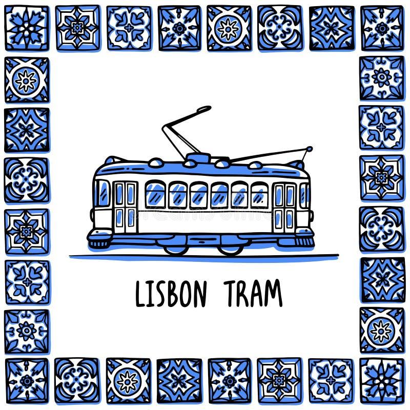 Portugal landmarks set. Lisbon retro tram. Traditional tramway in frame of Portuguese tiles, azulejo. Handdrawn sketch. Style vector illustration. Exellent for royalty free illustration