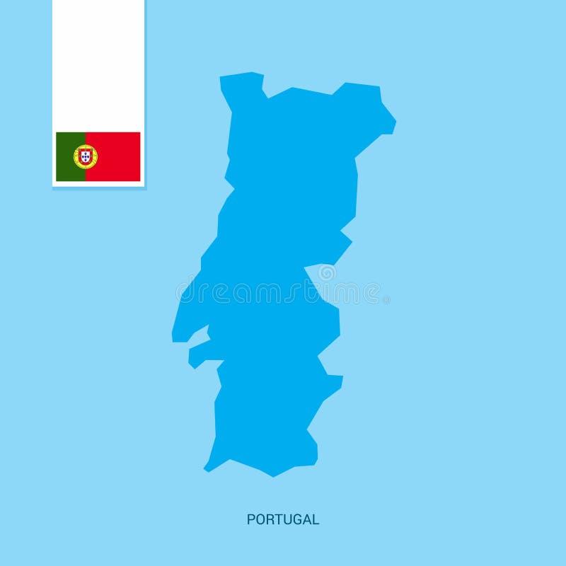 Portugal landsöversikt med flaggan över blå bakgrund stock illustrationer