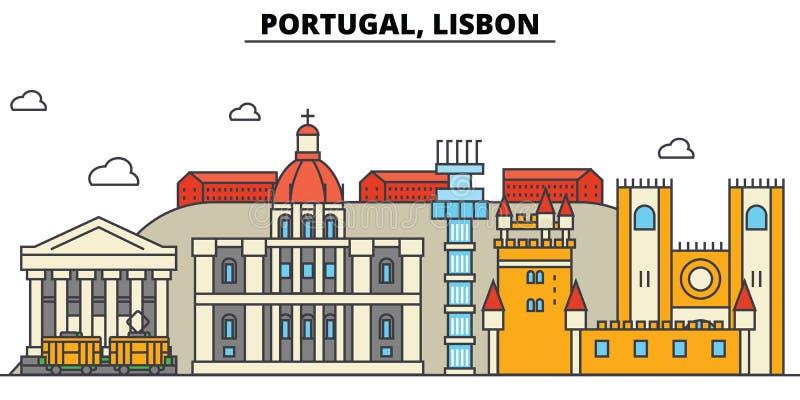 Portugal, Lisboa Arquitetura da skyline da cidade editable ilustração royalty free