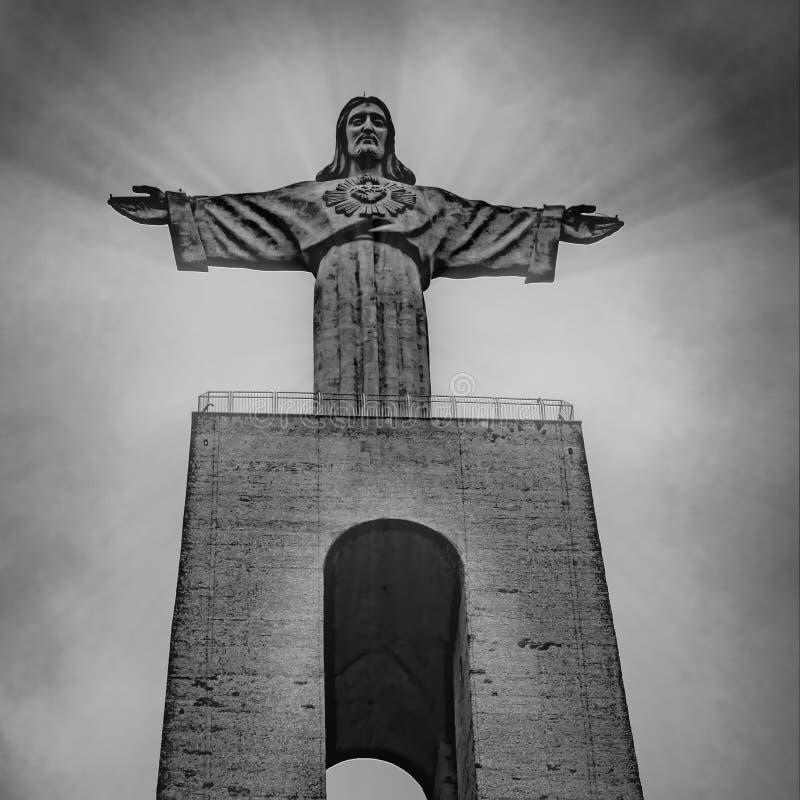 PORTUGAL, LISBOA - 10 DE MARÇO DE 2019: Estátua de Cristo, Cristo Rei imagem de stock