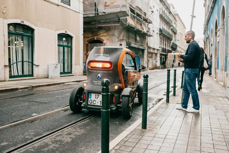 Portugal, Lisbon, April 10, 2018: Delivery of parcels or food or mail. royalty free stock photos