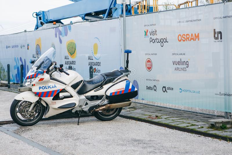 Portugal, Lisbon 29 april 2018: Police motorcycle on a city street. Protection of public order by the police royalty free stock image