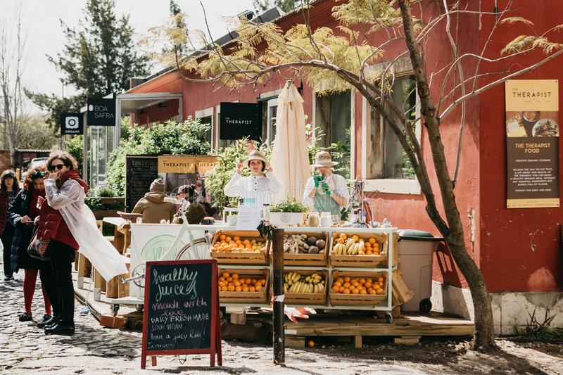 Portugal, Lisbon 29 april 2018: Street sale of fresh juices and vegetarian food. Street trade. stock photo