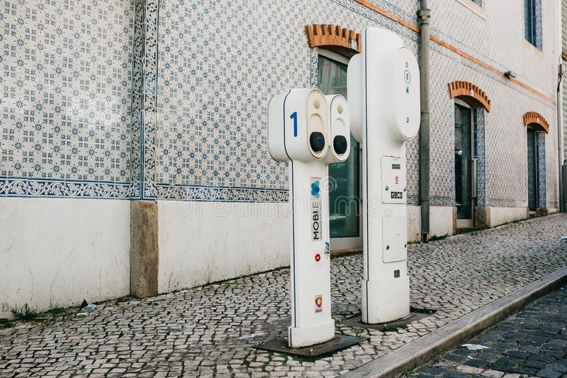 Portugal, Lisbon, 01 July 2018: Special place for refueling electric vehicles. Eco-friendly fuel. stock image
