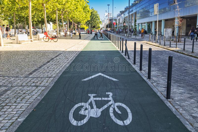 PORTUGAL/LISBON - 5MAY2019 - Bicycle lane for bicycles in the park of Nations Lisboa.Portugal.  stock image