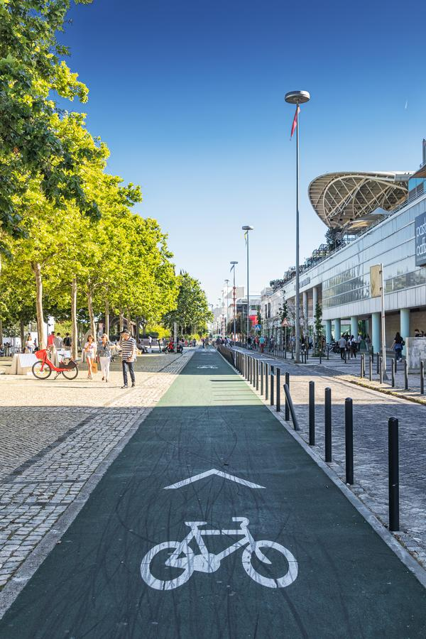 PORTUGAL/LISBON - 5MAY2019 - Bicycle lane for bicycles in the park of Nations Lisboa.Portugal.  stock photo
