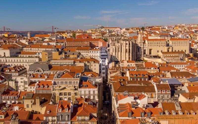 PORTUGAL, LISBON - OCTOBER 02, 2018: Elevador de Santa Justa. Carmo Lift is a elevator in the historical city of Lisbon. PORTUGAL, LISBON - OCTOBER 02: The Santa royalty free stock image