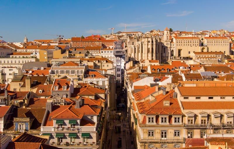 PORTUGAL, LISBON - OCTOBER 02, 2018: Elevador de Santa Justa. Carmo Lift is a elevator in the historical city of Lisbon. PORTUGAL, LISBON - OCTOBER 02: The Santa royalty free stock photo