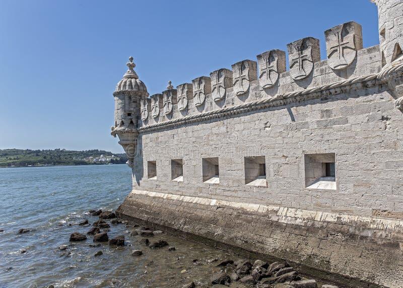 Portugal Lissabon, ett stärkt byggande fort på invallningen royaltyfria bilder