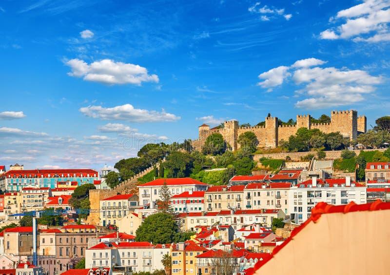 Portugal lizbońskiego Świątobliwy George kasztel przy pagórkiem zdjęcie royalty free
