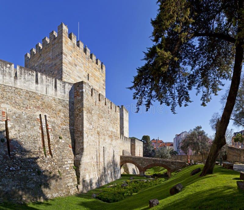 Portugal lizbońskiego Castelo De Sao Jorge świętego George aka kasztel zdjęcie royalty free