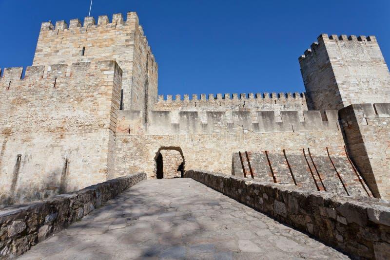 Portugal lizbońskiego Castelo De Sao Jorge świętego George aka kasztel zdjęcia royalty free
