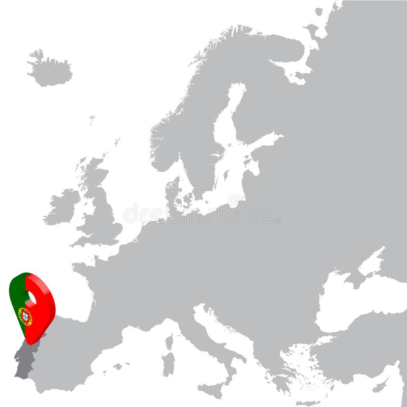 Portugal Location Map on map Europe. 3d Portugaln flag map marker location pin. High quality map of Portugal. royalty free illustration