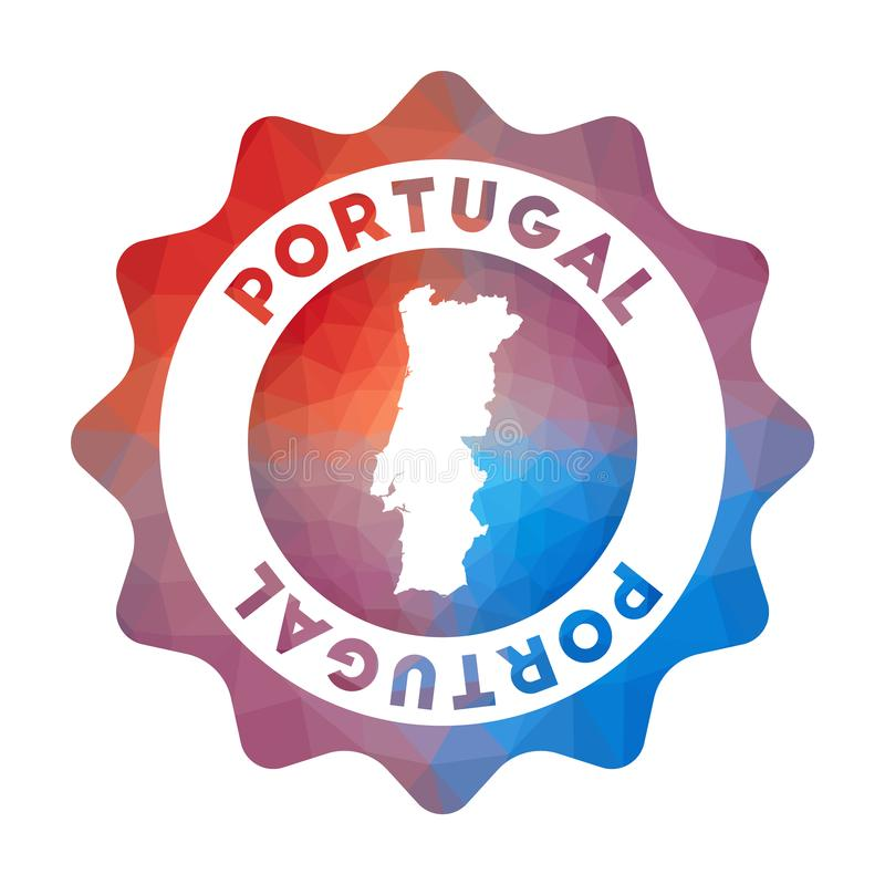 Portugal low poly logo. Colorful gradient travel logo of the country in geometric style. Multicolored polygonal Portugal rounded sign with map for your stock illustration