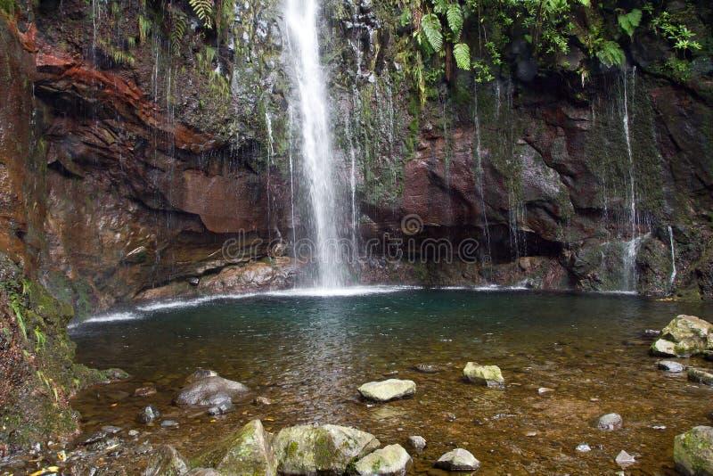 Portugal, Madeira, cascada 25 Fontes cerca de Rabacal fotos de archivo