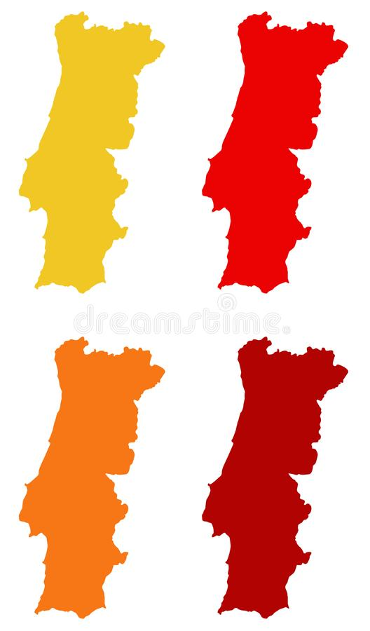 Portugal map - country on the Iberian Peninsula in southwestern Europe. Vector file of Portugal map - country located mostly on the Iberian Peninsula in stock illustration