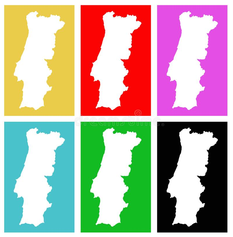 Portugal map - country on the Iberian Peninsula in southwestern Europe. Vector file of Portugal map - country located mostly on the Iberian Peninsula in royalty free illustration