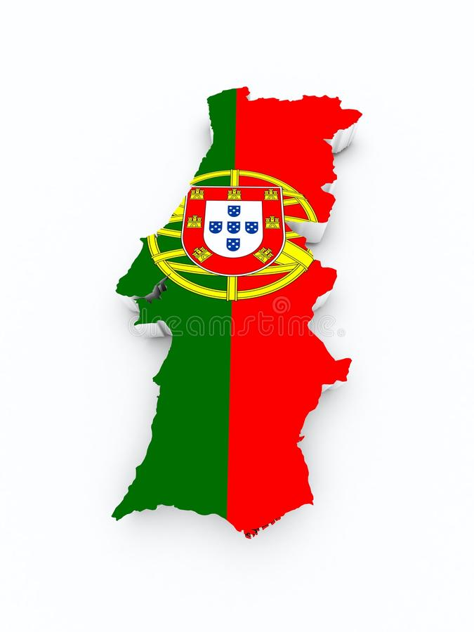 Portugal map on 3d map stock illustration